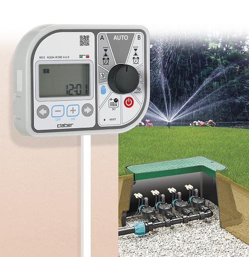 Programmatore elettronico per irrigazione aqua home 4 6 8 for Claber timer irrigazione