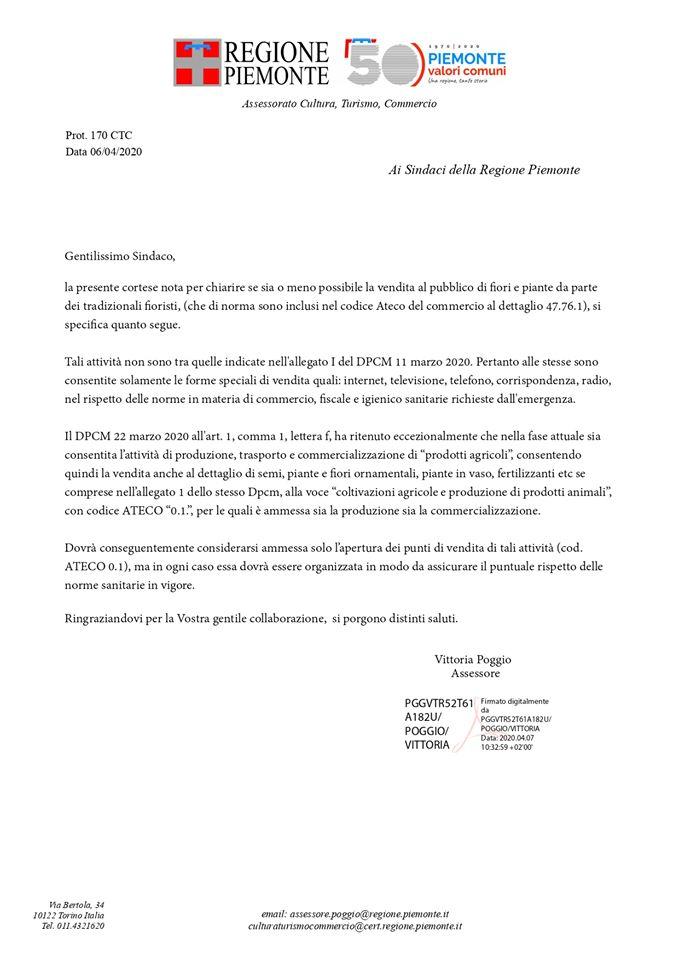 PIEMONTE - chiarimento garden 6-4-2020